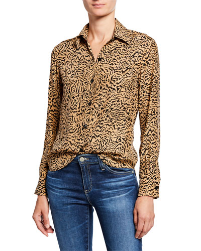 Cristina Button-Down Tiger-Print Blouse