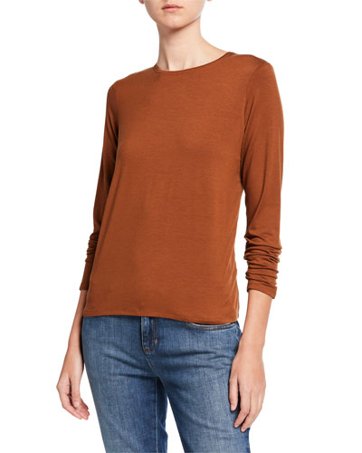 Plus Size Jersey Crewneck Long-Sleeve Tee