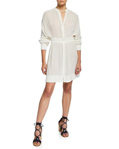 acbf84bd5e1 Quick Look. Rag   Bone · Elish Long-Sleeve Crinkle Dress with Mandarin  Collar