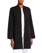 Eileen Fisher Sleek Recycled Polyester Zip-Front Long Jacket