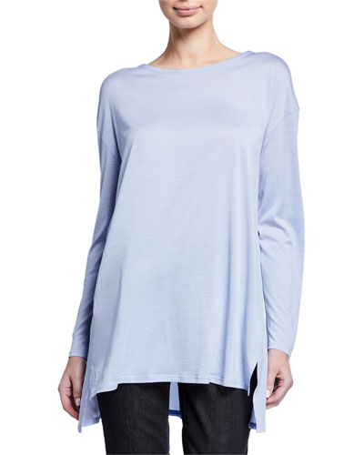 Petite Jewel-Neck Long-Sleeve Jersey Front Tunic w/ Silk Back