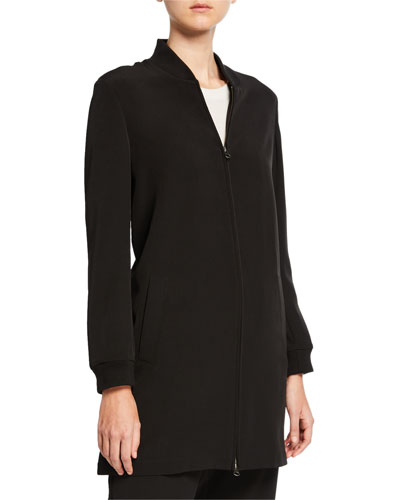 Plus Size Sleek Recycled Polyester Zip-Front Long Jacket