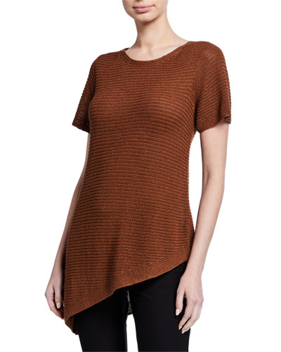 Petite Organic Linen/Cotton Short-Sleeve Asymmetric Tunic Sweater