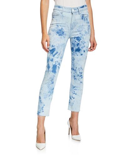 Hoxton Slim Crop Tie-Die Jeans w/ Raw Hem