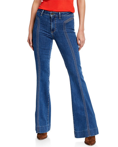 Genevieve High-Rise Flare Jeans w/ Topstitching