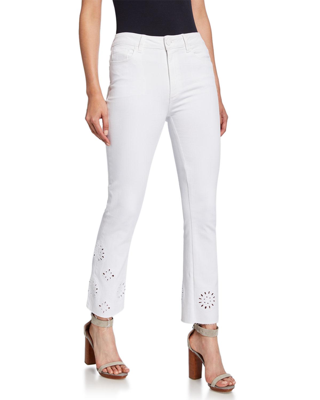 Paige Jeans VINTAGE COLETTE EYELET RAW HEM FLARE JEANS