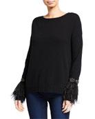 Neiman Marcus Cashmere Collection Cashmere Crewneck Sweater w/