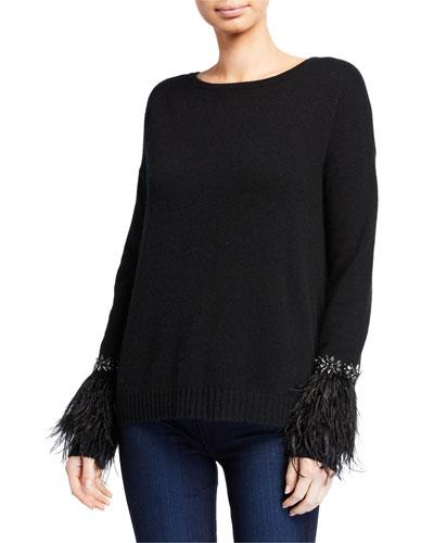 Cashmere Crewneck Sweater w/ Embellished Trim & Feather Cuffs