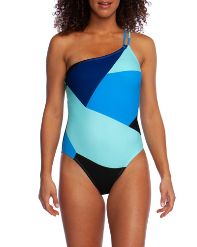 Sips & Slices One-Shoulder Colorblock One-Piece Swimsuit
