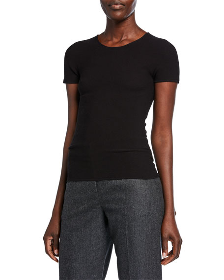 Giorgio Armani Scoop-Neck Short-Sleeve Tee, Black