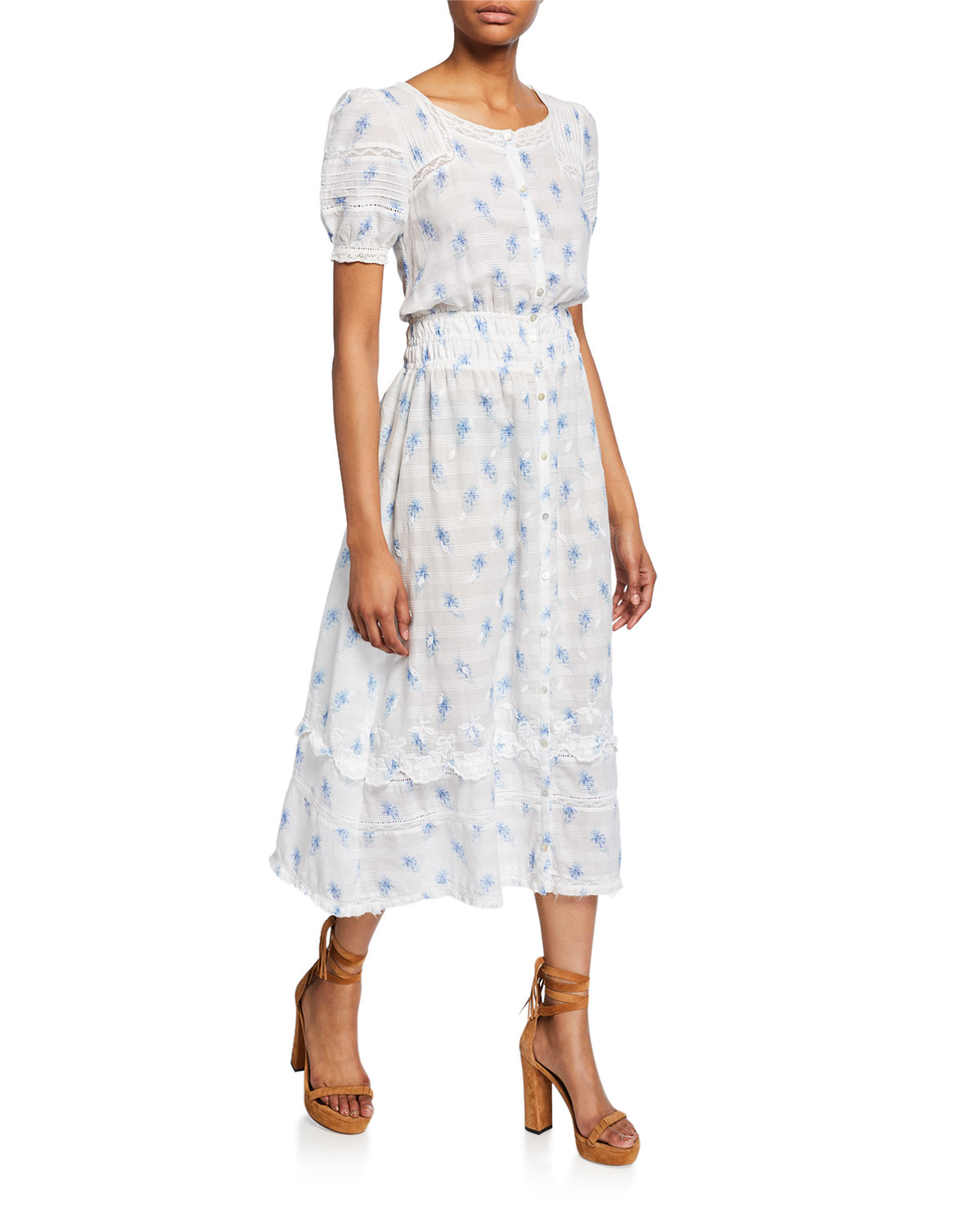 Loveshackfancy Dresses SANDY EMBROIDERED BUTTON-FRONT MIDI DRESS