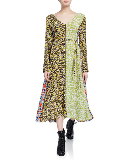 Stine Goya Maca Paneled Floral Long-Sleeve Dress