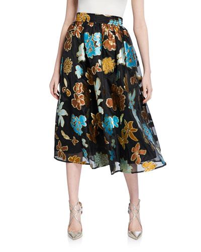 Laila Floral Metallic Midi Skirt