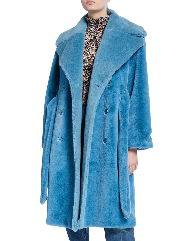 Stine Goya Coats HAPPY FAUX-FUR LONG COAT
