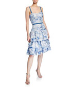 Marchesa Notte Metallic Printed Fils Coupe Tiered Tea-Length