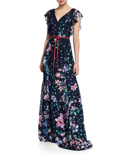 Floral Burnout Chiffon V-Neck Cap-Sleeve Gown w/ Ruffle Detailing