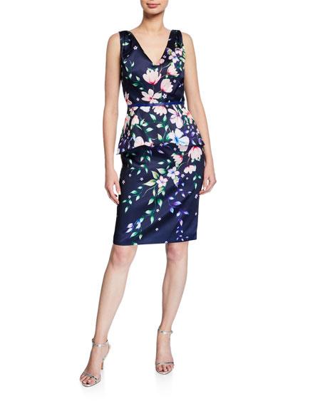Marchesa Notte Floral Mikado V-Neck Sleeveless Peplum Dress
