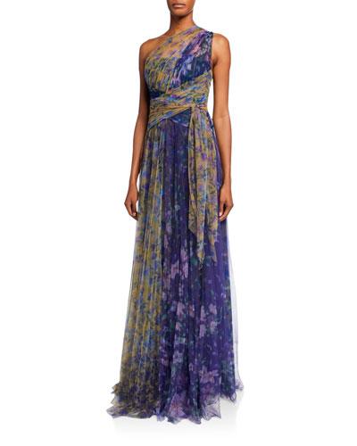 Colorblock Floral-Print One-Shoulder Tulle Dress w/ Back Cutout
