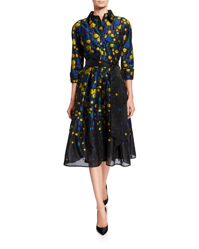 Floral Jacquard 3/4-Sleeve Organza Shirtdress