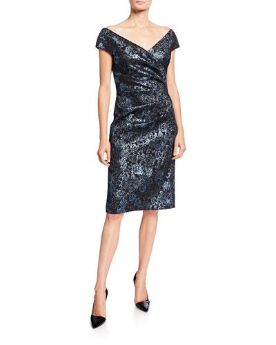 Metallic Floral Jacquard Off-Shoulder Sheath Dress