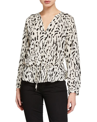 Marti Printed Button-Front Long-Sleeve Top