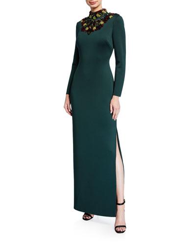Embellished Mock-Neck Long-Sleeve Cutout-Back Scuba Gown