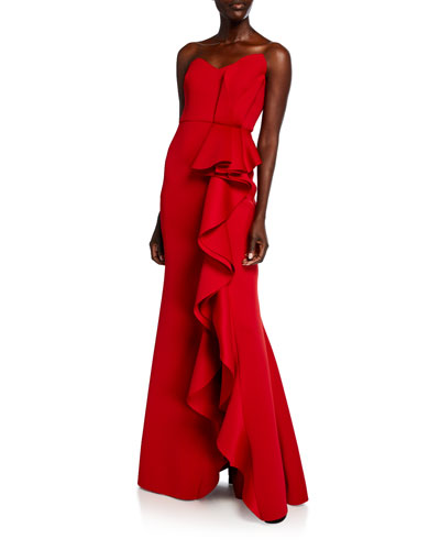 Strapless Sweetheart Side Ruffle Gown