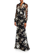 Badgley Mischka Collection Floral Sequin Long-Sleeve Shirtdress