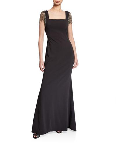 Square-Neck Beaded Fringe Sleeve Crepe Gown