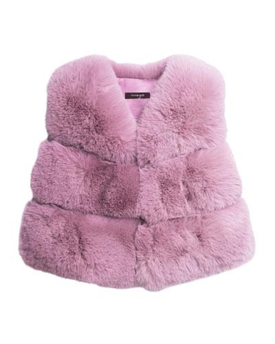 Girl's Faux-Fur V-Neck Vest, Size 8-14