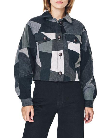Ksenia Schnaider Patchwork Denim Cropped Jacket