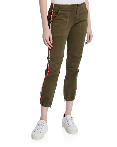 Side-Stripe Cargo Pants with Elastic Hem
