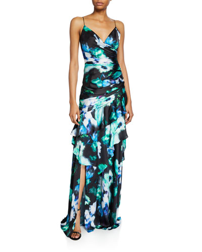 Charm Abstract Floral Sleeveless Ruffle-Trim Gown