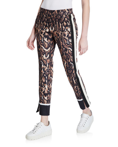 Ocelot-Print Cropped Track Pants