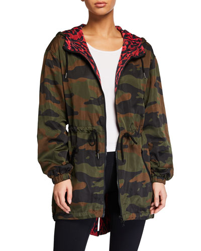 Reversible Camo-Print Hooded Parka Jacket