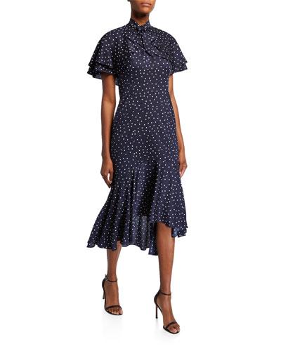 Polka Dot Short-Sleeve Tiered Bolero Dress with Flounce Hem