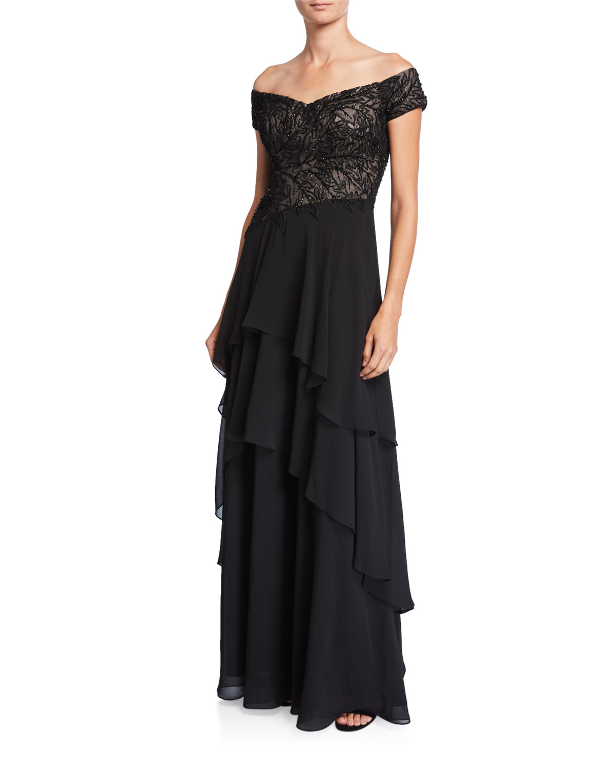 Rickie Freeman For Teri Jon Skirts BEADED OFF-THE-SHOULDER TIERED SKIRT GOWN