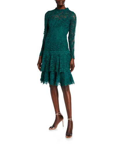 Floral Lace Mock-Neck Long-Sleeve Tiered Dress