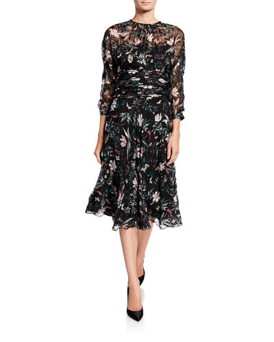 Floral Burnout Shirred-Waist 3/4-Sleeve Dress
