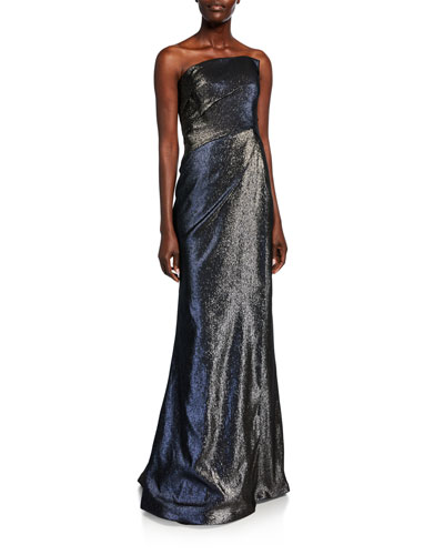 Strapless Bustier Side-Draped Gown