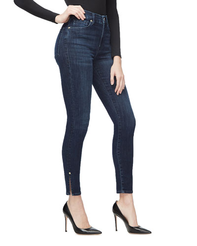 Good Waist Skinny Ankle Jeans w/ Slit Hem - Inclusive Sizing