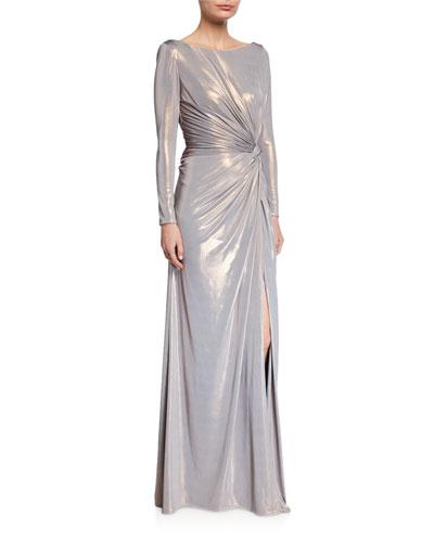 Metallic Long-Sleeve Side Knot Column Gown
