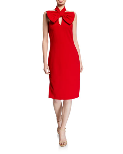 Bow Halter Keyhole Cocktail Dress
