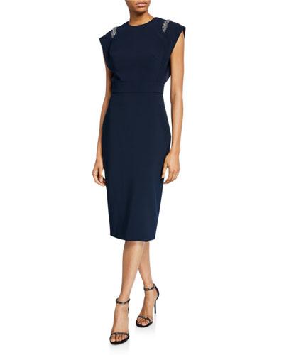 Jewel-Neck Cap-Sleeve Sheath Dress with Embellished Shoulders