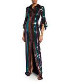 Badgley Mischka Collection Disco Stripe Sequin Column Gown