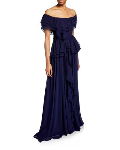 Chiffon Off-the-Shoulder Short-Sleeve Ruffle Gown