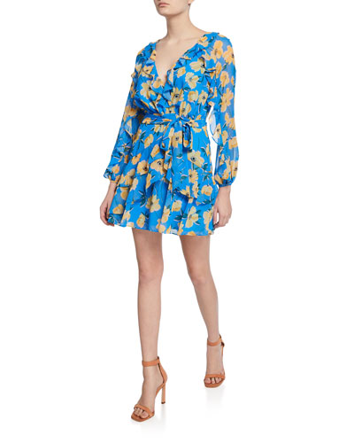 Sicily Sway Floral Long-Sleeve Mini Dress