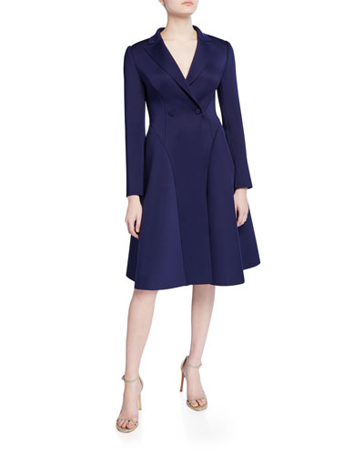 Long-Sleeve Double-Breasted Fit-&-Flare Scuba Coat Dress