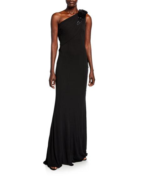 Badgley Mischka Collection Grecian One-Shoulder Column Gown