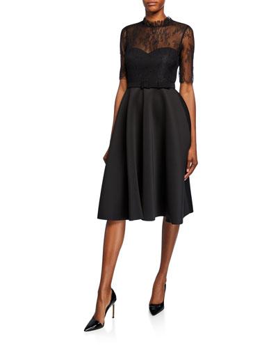 Mock-Neck Lace Illusion Elbow-Sleeve Fit-&-Flare Scuba Dress